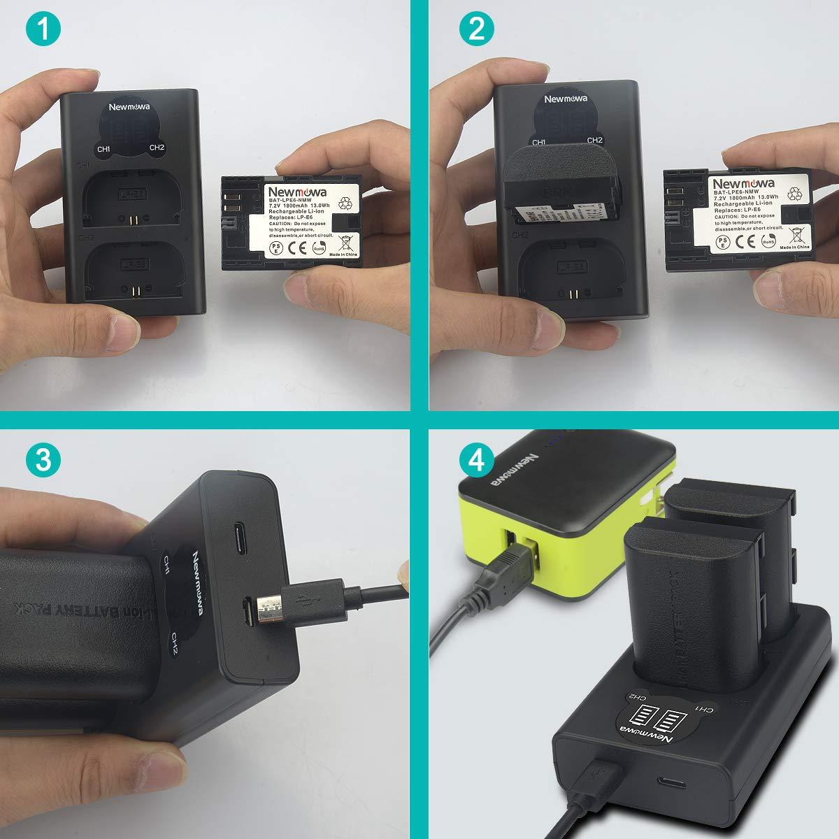 2 Paquets et Chargeur Double Intelligent LED USB pour Canon LP-E6 EOS 5D Mark II EOS 5D Mark IV EOS 5DS LP-E6N et Canon EOS 5DS R EOS 6D EOS 5D Mark III Newmowa LP-E6 Batterie de Rechange
