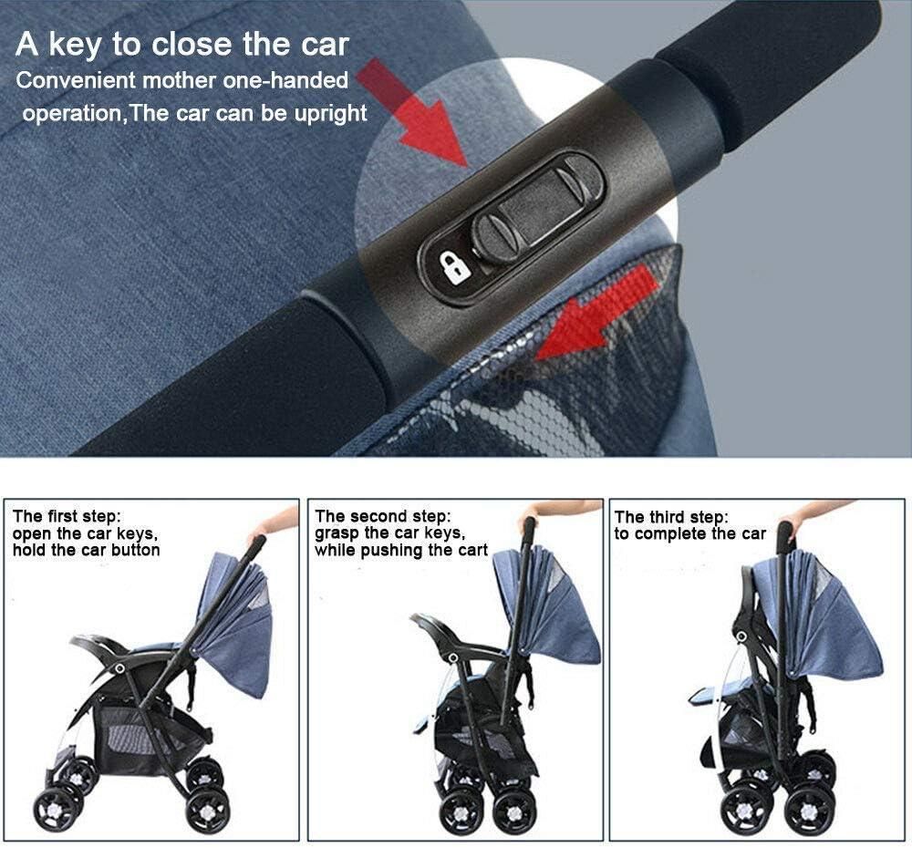 Bleu Fonc/é YIYIBY Poussette Pliante L/ég/ère Poussette Landau Compact B/éb/é Travel Buggy avec Raincover pour 0-3 Ans B/éb/é