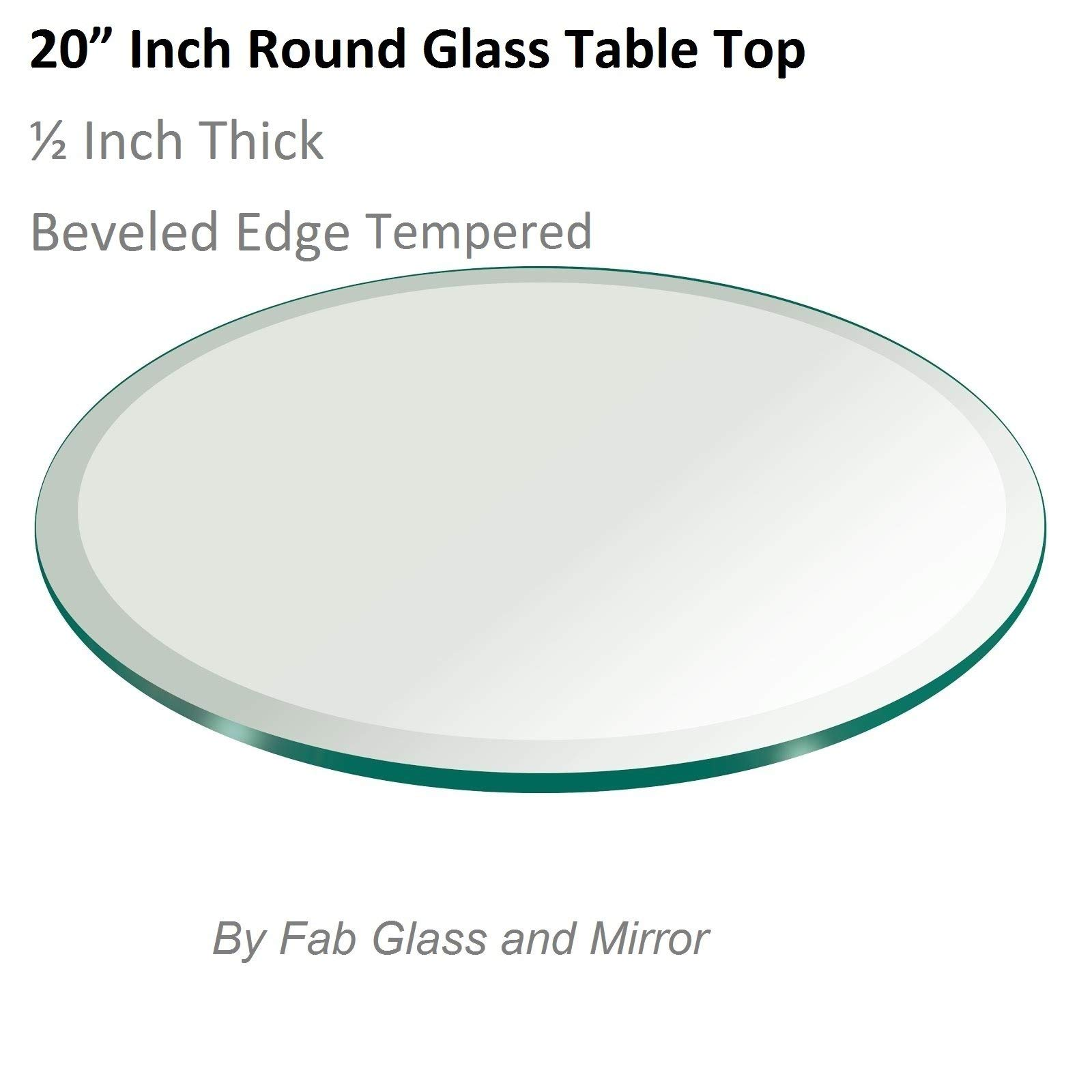 20'' Inch Round Glass Table Top 1/2'' Thick Tempered Beveled Edge by Fab Glass and Mirror (Renewed) by Fab Glass and Mirror