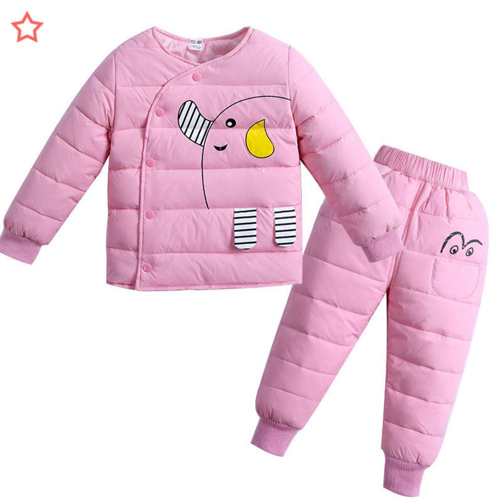 M&A Baby Girls' Boys' 2-Piece Lightweight Winter Down Jacket Snowsuit Snow Pants Set