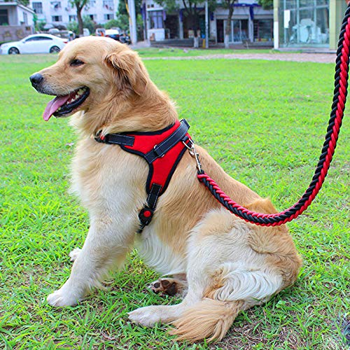 XDgrace Large Dog Harness, Adjustable No-Pull Collars and Harnesses for Dogs, Service Dog Training Harness Vest Collar with All Kind of Size (L, Red)