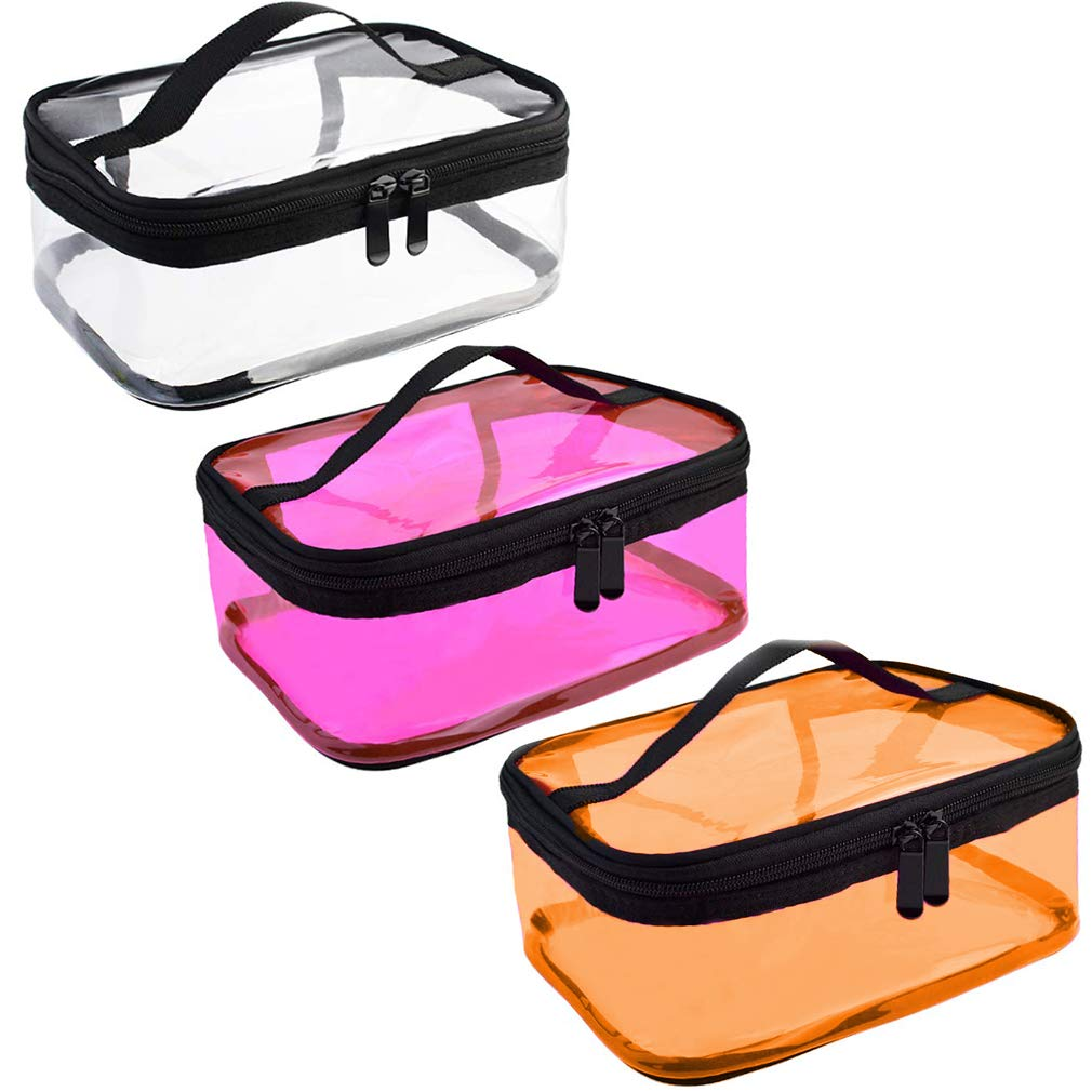 GAUSKY 3 Pieces Transparent Waterproof Makeup Bag Portable Large Capacity Travel Clear Cosmetic Toiletry Bag with Handle