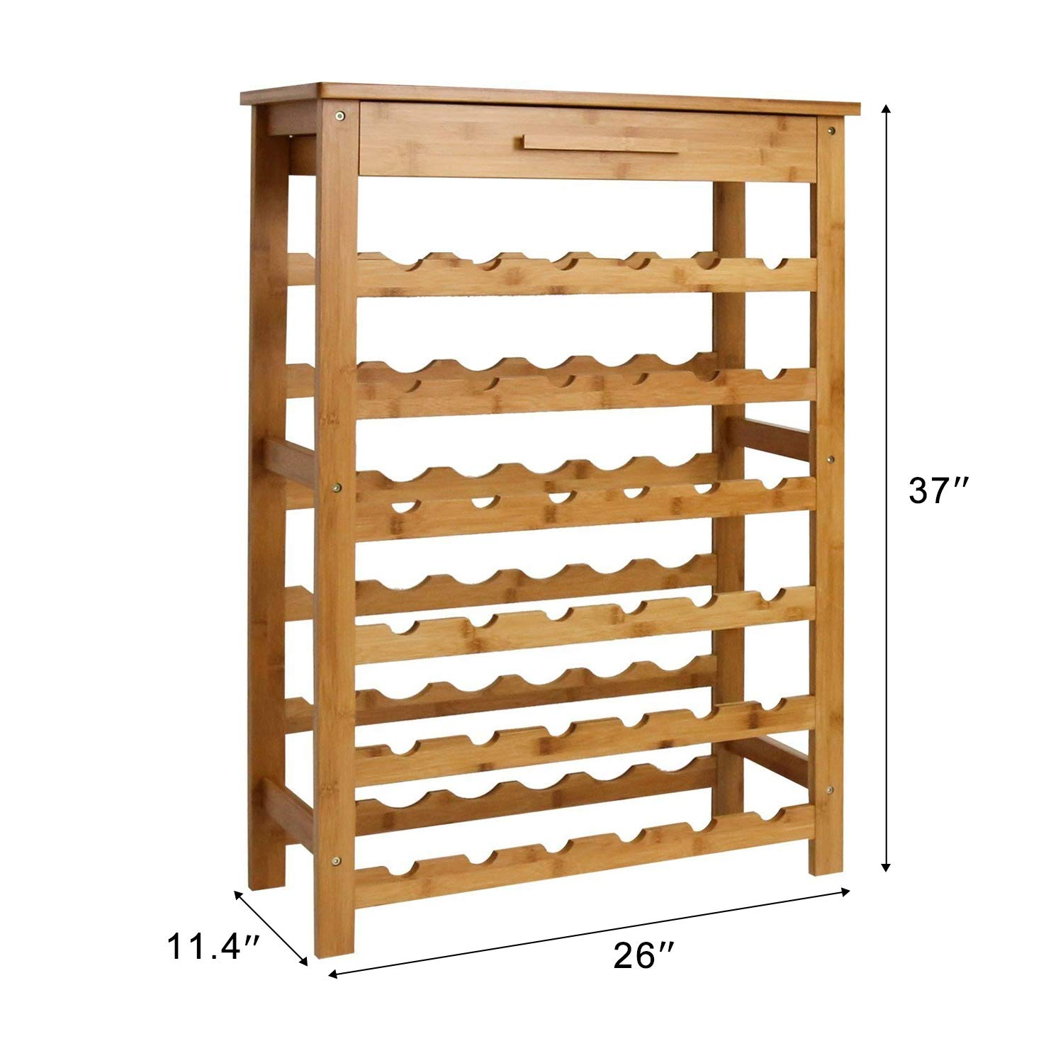 Kinsuite Bamboo Wine Rack Modular Wine Storage Holder Display Shelves for Storing Bottles at Home 36 Bottle Wine Rack Free Standing Floor 6 Shelves with Drawer