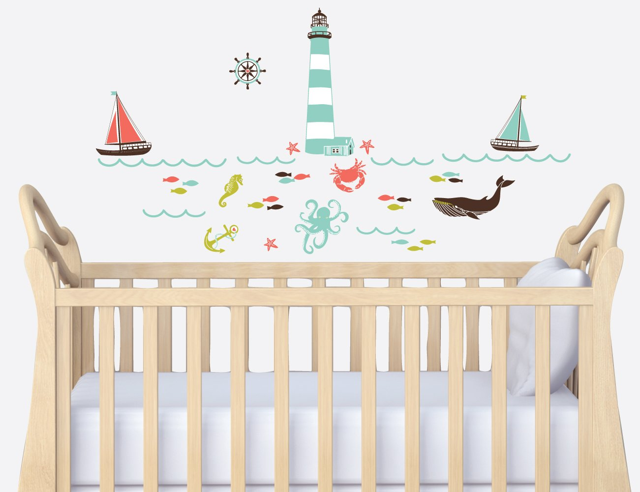 Amazon nautical wall decal in red navy and gray for nursery amazon nautical wall decal in red navy and gray for nursery baby amipublicfo Choice Image