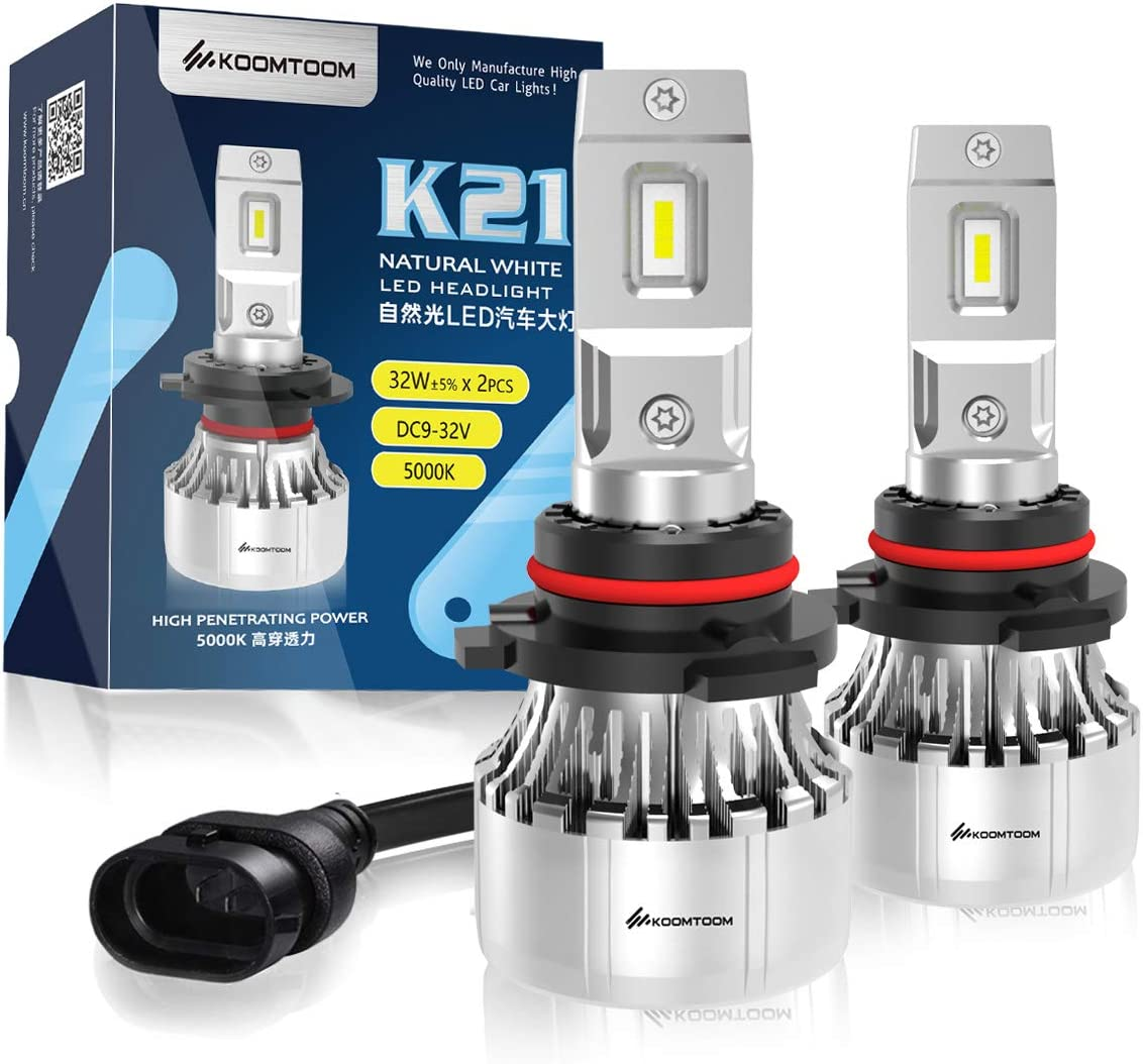 KOOMTOOM 9005//HB3 Brightest LED Headlight Bulbs,5000K 64W 400/% Super Brighter LED Headlights Conversion Kit High Beam Head Lamp Warm White IP65 Rated,Pack of 2