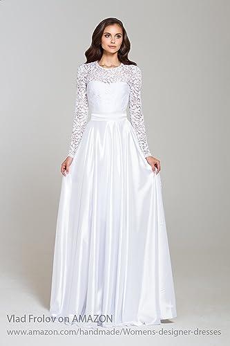 Amazoncom White Evening Dress Maxi Lace Dress With Long Sleeves