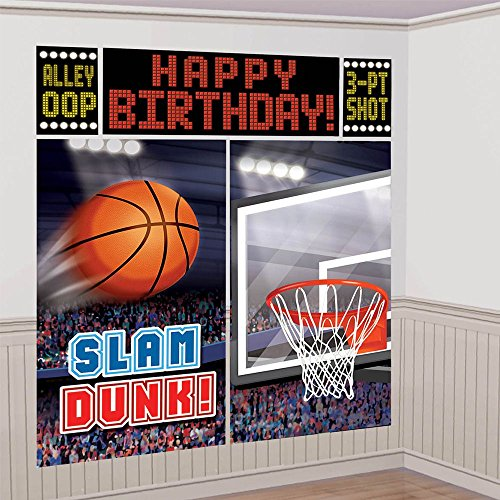 (Amscan Basketball Dream Birthday Party Scene Setters Wall Decorating Kit (5 Piece), Black, 14.5 x)