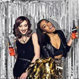 Foil Silver Fringe Curtain Backdrop - 2 Pack (3.3ft x 8 ft) Metallic Tinsel Shinny curtain Hanging Backdrops For Christmas Birthday,Weddings Bachelorette Party Decorations
