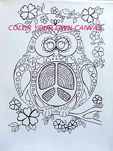 Peace Owl - Coloring Page Canvas - FREE SHIPPING - Adult Coloring Book Style Canvas - Colouring - Peace Owl - Original Image
