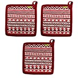 """Set of 3 Pot Holders, 100% Cotton of Size 8""""X8 Inch, Eco-Friendly & Safe, Aztec Design for Kitchen"""
