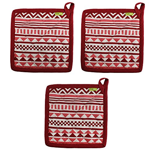 "Set of 3 Pot Holders, 100% Cotton of Size 8""X8 Inch, Eco-Friendly & Safe, Aztec Design for Kitchen by Plush Home"