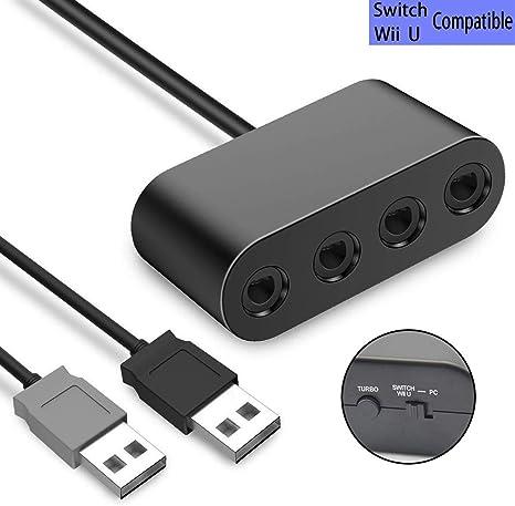 TUTUO GameCube Controller Adapter ,Wii U Gamecube NGC Controller Adapter para Nintendo Switch y PC con conector de 4 puertos, sin convertidor de controlador: Amazon.es: Videojuegos