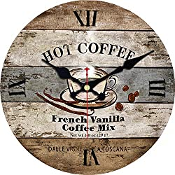 MEISTAR Coffee Bar and Cafe Decorative Wooden 16 Inch Large Round Wall Clock,Rustic Country Vintage Coffee Design French Country Style Art Wall Clock
