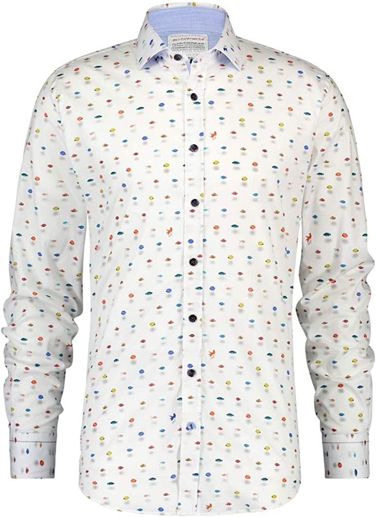 A FISH NAMED FRED Camisa Peces - Color - Blanco, Talla - L ...