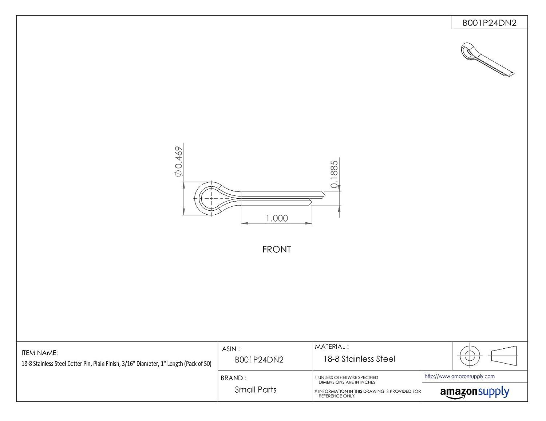 1//8 Diameter 18-8 Stainless Steel Cotter Pin 2-1//2 Length Plain Finish Pack of 50