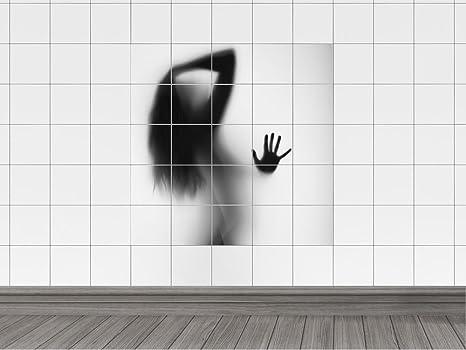 Piastrelle adesivo piastrelle immagine silhouette di una donna e
