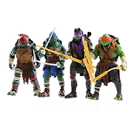 CHANG 4 Unids Set Teenage Mutant Ninja Turtles Figuras De Acción De Rafael Leonardo Donatello Decoración del Hogar Juguetes Niños,OneSize