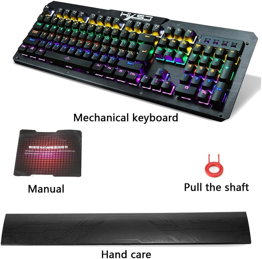 Color : Black Trissem Mechanical Gaming Keyboard Waterproof Blue Switch 104 Double Injection Keys Black and White
