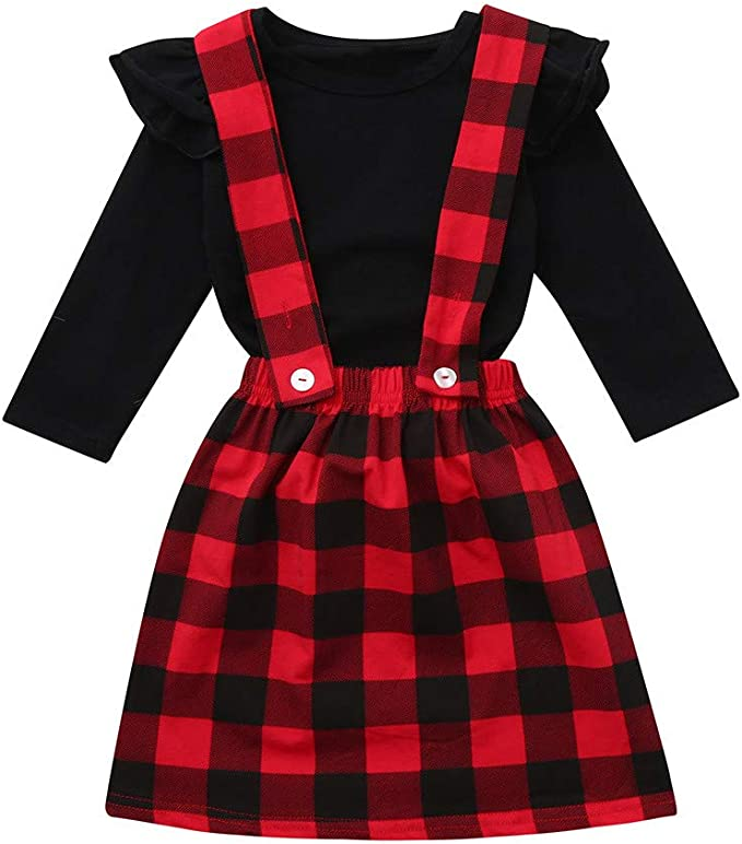 Baby T-Shirt Strap Dress 2Pcs//Set Toddler Girl Long Sleeve Ruffle Top Overalls Plaid Skirt Clothes Set