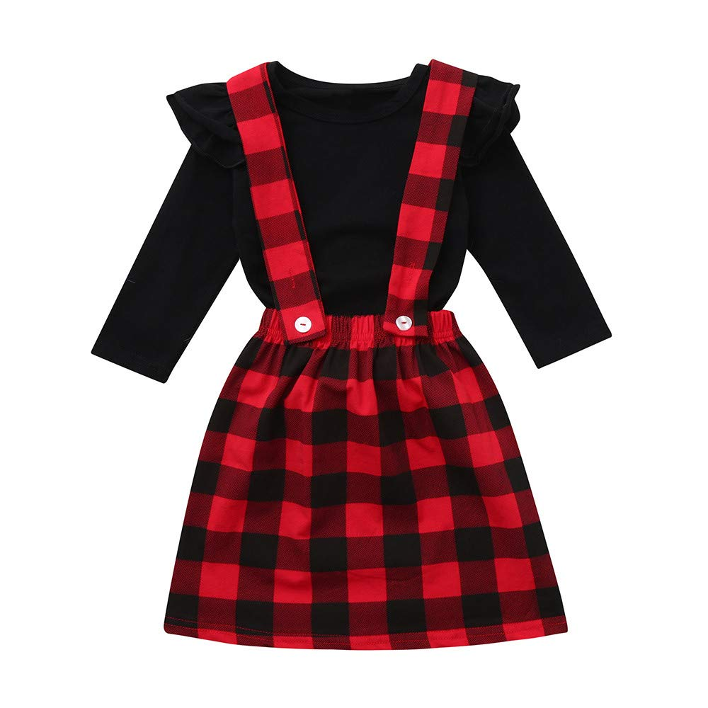 KASSD Baby Girls Clothing Set Toddler Infant Kids Solid Ruffle Tops Plaid Strap Skirt Outfits