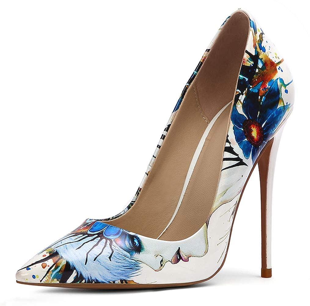 Charmstep Damen gedruckt Pumps spitze Zehe Slip-On High Heel Dress Schuhe MR1442