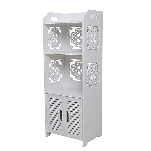 Hollylife - Armario de baño de MDF Blanco 3 en 1, Mueble de ...