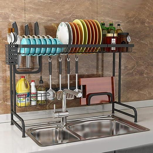 2p Stainless Steel Wire Modern Sink Dish Organizer Shelf Dish Rack Kitchen Red