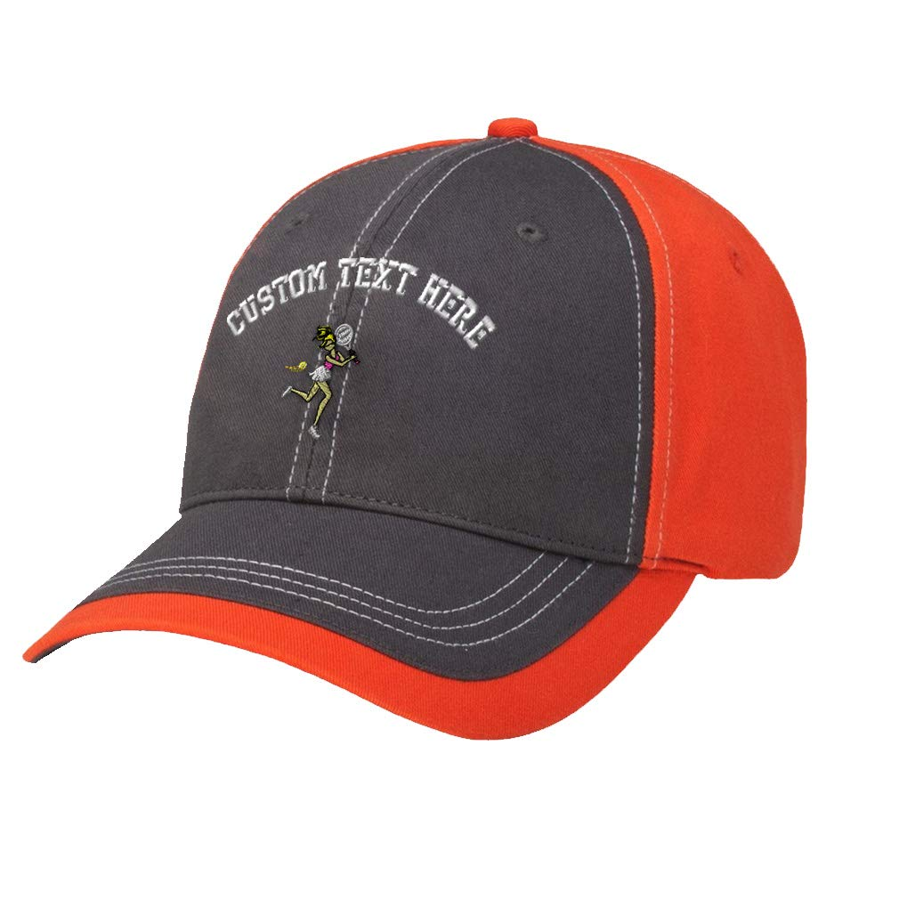 Amazon.com  Custom Text Embroidered Sport Tennis Girl Cotton Richardson  Contrast Sports Cap Charcoal Orange  Clothing 34daeadab36
