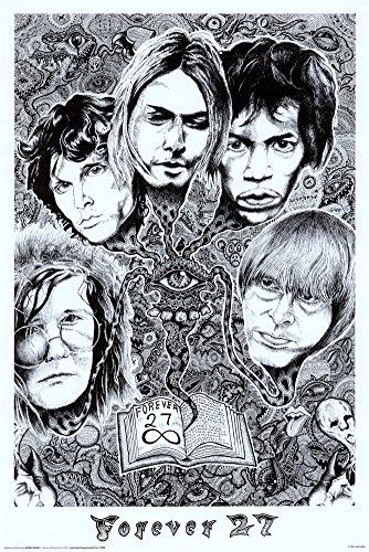 Forever 27 Janis Joplin, Jim Morrison, Kurt Cobain, Jimi Hendrix, Brian Jones Music Poster
