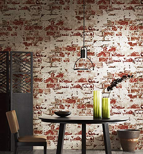 (2025 Worn Plaster Brick Wallpaper Rolls,Red/Whitewash Stucco Brick Wallpaper Bedroom Living Room Bar Wall Decoration 393.7in×20.9in)