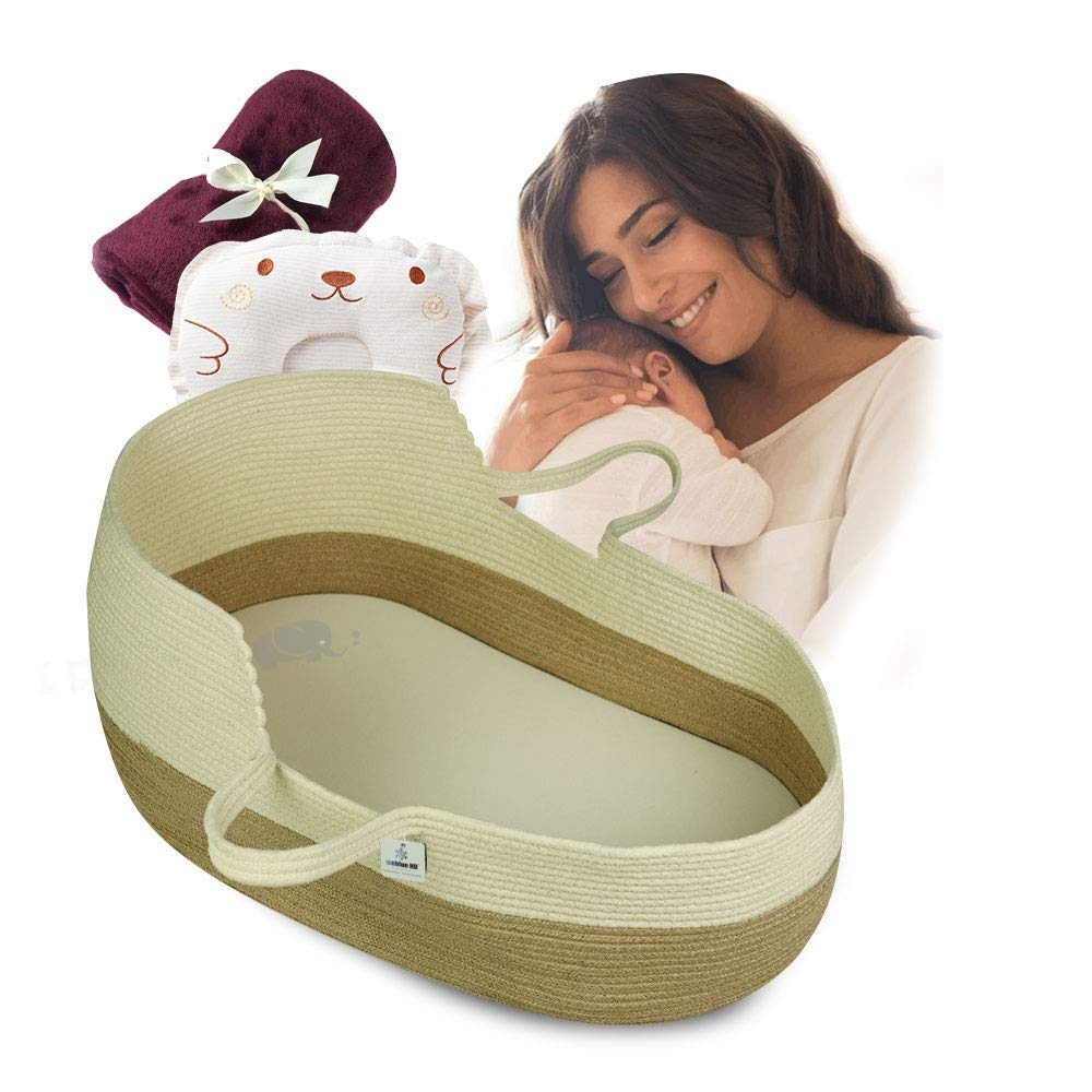 ICEBLUE HD Baby Cradle Beside Cribs Co-Sleeping Cribs Moses Basket Portable Cribs Baby Shower Gifts by ICEBLUE HD