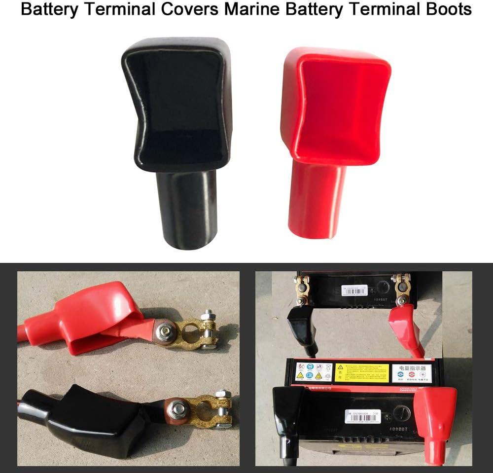 Festnight Copri terminali della Batteria Caricabatterie terminale per batterie Marine Rosso e Nero Positivo e Negativo 1 Paio 192681 192682