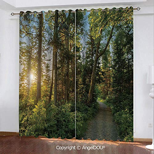 SCOCICI Set of 2 Panels Durable Blackout Stylish Grommet Window Drapes Curtains National Park in Cape Breton Highlands Canada Forest Path Trees Tranquility Photo for Bathroom Living Room Bedroom