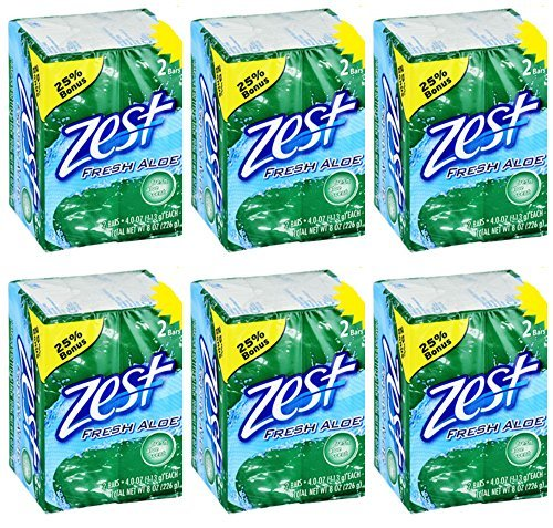 (Lot of 12 Bars (One Dozen) Zest Fresh Aloe 4.0 oz/bar (2/pack x 6=12 bars))
