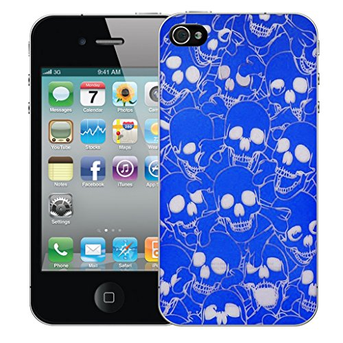 Mobile Case Mate iPhone 4s Silicone Coque couverture case cover Pare-chocs + STYLET - Blue Multi Skull pattern (SILICON)