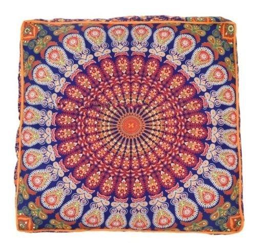 Cojín de suelo indio elefante Mandala, tapiz azul Mandala de ...