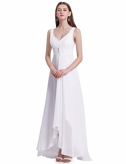 Ever-Pretty Scollo V Abito da Sera Donna Lunga High-Low Chiffon Impero  09983  Amazon.it  Abbigliamento c0592a6c509