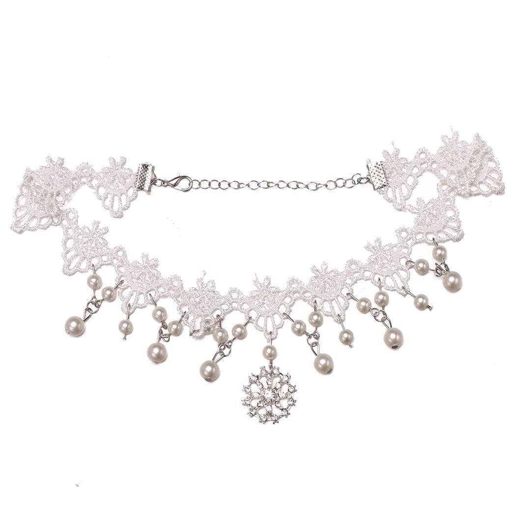 Bulges Women Vintage Style Hollow Artificial Pearl Diamond Pendant L Pendant Necklaces