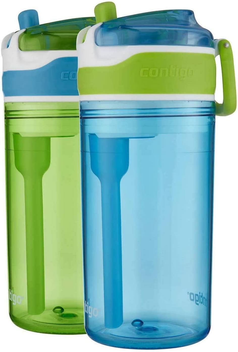 Amazon Com Contigo Kids 2 In 1 Snack Hero Tumbler Water Bottle Or Snack Container Green Blue 2 Pack Kitchen Dining