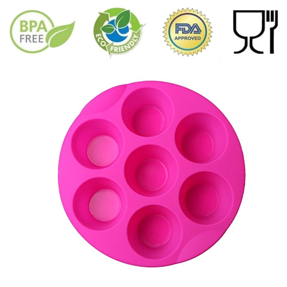 SHareling 7 Cavity Silicone Mold Muffin Pudding Mould Bakeware Round Cup Cake Pan Baking Tray (Random Color) 70RCF105