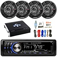 Lightning Audio By Rockford Fosgate LA1500BT MP3 Bluetooth Stereo Receiver Player Bundle Combo With 4x Crunch CS653 6.5 3-Way Black Coaxial Speaker + 1000 Watt Amplifier + Enrock Amp Installation Kit