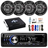 xplod 1000 watts - Lightning Audio By Rockford Fosgate LA1500BT MP3 Bluetooth Stereo Receiver Player Bundle Combo With 4x Crunch CS653 6.5