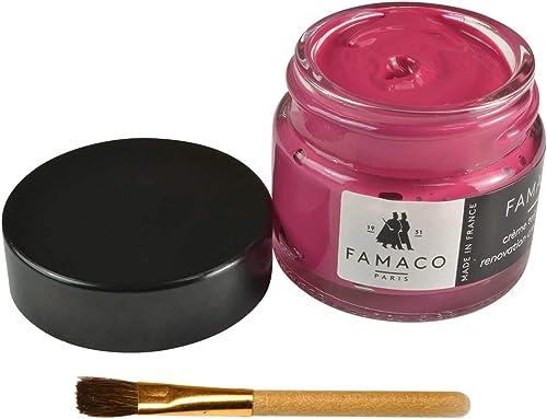 Famaco Tinte crema para zapatos de cuero, bolsos, ropa y muebles con cepillo de retoque, Renovation Dye Cream en 43 colores – perfecto para rozaduras ...