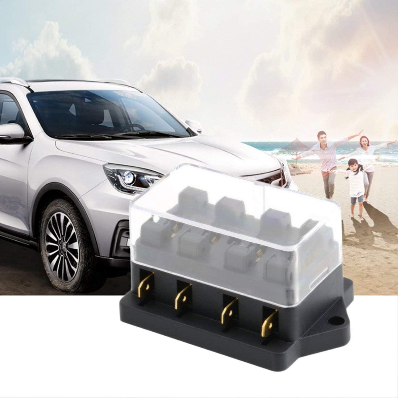Liobaba Automotive Fuse Box,4 Way Circuit Automotive Middle-Sized Blade Standard Fuse Box Block Holder