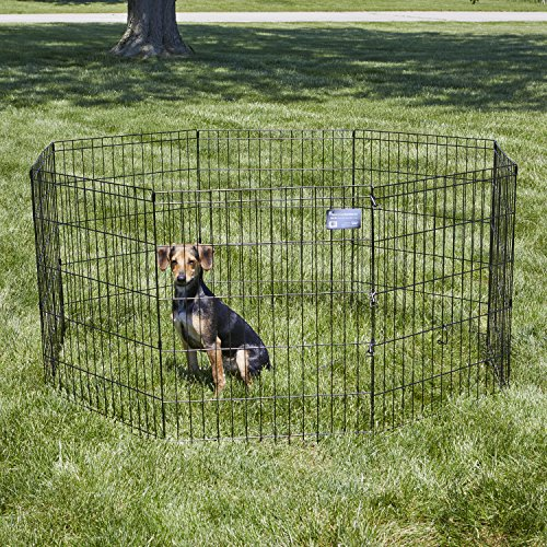 """Dog Fencing -- MidWest Foldable Metal Exercise Pen / Pet Playpen, 24""""W x 30""""H"""