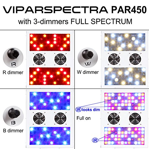61fS taHOzL - VIPARSPECTRA Dimmable Series PAR450 450W LED Grow Light - 3 Dimmers 12-Band Full Spectrum for Indoor Plants Veg/Bloom
