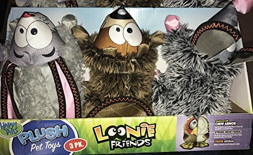 Happy Tails Loonie Friends Plush STRONG Dog Toy Set of 3
