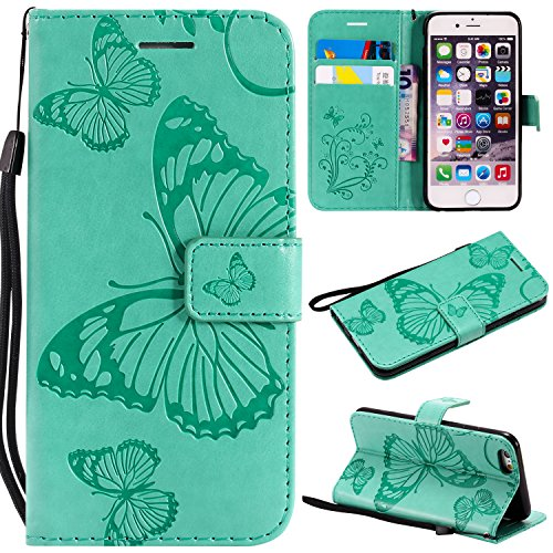 iPhone 6S Wallet Case,iPhone 6S Case with Card Holder,iPhone 6 Leather Flip PU Phone Protective Case Cover with Credit Card Holder Slots for Apple iPhone 6S/6 with Stand,Cute Butterfly Mint Green