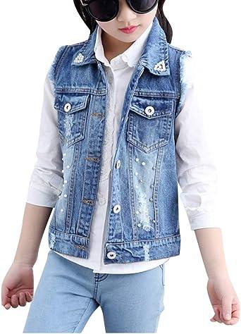 Fille Denim Vest Slim Fit Sans Manches Manteaux Gilet En Jean Veste Jacket Amazon Fr Vêtements Et Accessoires