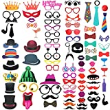 DIY Photo Booth Props Kit - 90pcs Photobooth Prop Funny Selfie Accessories Decoration Supplies Costume Mustache Hat Glasses Tie for Birthdays Wedding Holiday Party